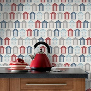 Proof That Colourful Can Look Just As Good In The Bathroom Go For A Nautical Theme With Adorable Beach Hut Wallpaper And Red Dotty