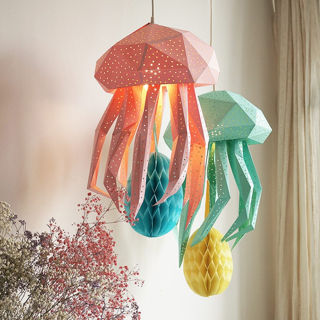 Jellyfish Lamp blue and pink