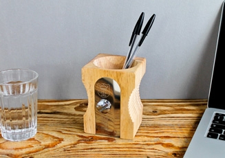 Block Sketch Desk Tidy - Red - minimalist pen pot - Block