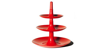 Koziol Babell Cake Stand - tiered fruit dish - red cake stand