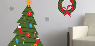 Christmas Cartoon Tree Wall Sticker Set