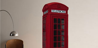 Large London Phone Box Wall Sticker - Iconic British Wall Decor