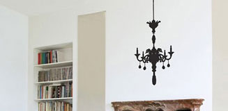 Large Chandelier Wall Sticker - Chandelier Silhouette Wall Decor