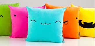 Comic Ka-Boom Blue Sofa Cushion - modern sound effect pillow