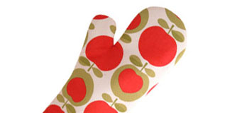 Confetti Oven Mitt - long length red insulated oven glove