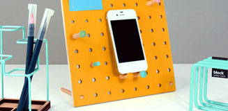 Block Small PegBoard in Natural - designer wooden memo board