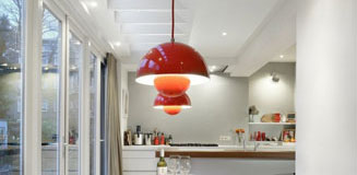 C1 Strip Pendant Light - dark concrete and steel pendant lamp