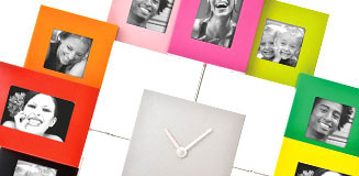 Family Time Photo Frame Clock - black Present Time wall clock