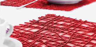 Confetti Silicone Placemats - Set of 2 red rubber place mats