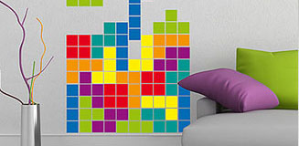 8 Bit Retro Colour Wall Sticker Set - retro video game wall decor