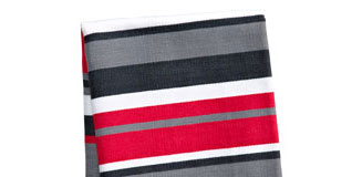 Confetti Stripes Tea Towel - stripy red designer tea towel