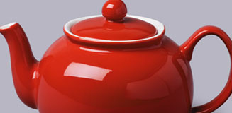 Brights Red Teapot - 7 to 1 Cup large red ceramic teapot