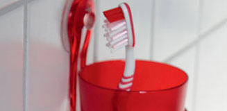 Confetti Square Toothbrush Mug - red toothbrush holder