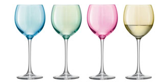LSA Polka Wine Glasses - set of 4 pastel coloured wine glasses