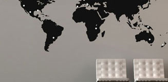 Labelled World Map Wall Sticker - world map wall decor