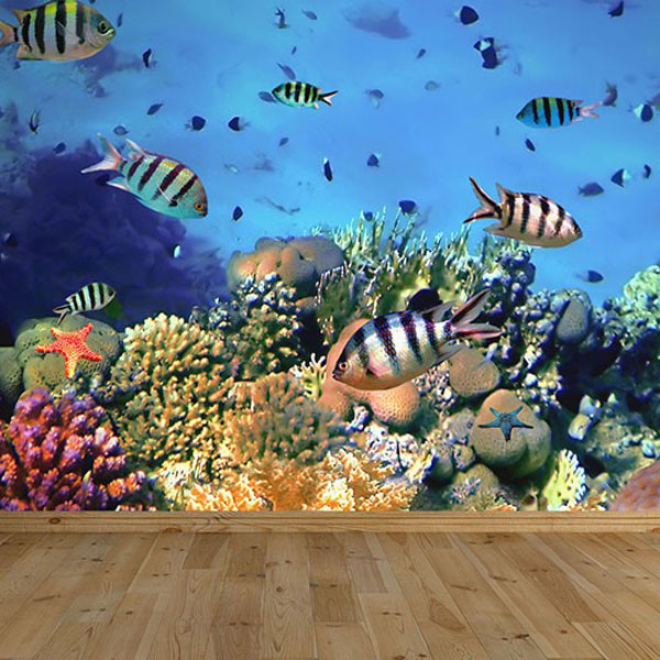 Reef coral large rectangular tag for Coral reef mural