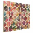 Hexagon Facets Wood Print - Red Candy