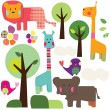 Safari Animals Wall Sticker Set - Red Candy