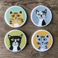 Cat Coasters (Set of 4) - Red Candy