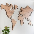 Wooden World Map Wall Art (Bamboo) - Red Candy