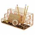 Trace Copper Desktop Organiser - geometric wire desk tidy