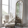 Tall Wood Arched Window Mirror - 61 x 178cm