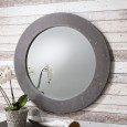 Round Concrete Wall Mirror (91cm) - Red Candy