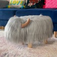 Gilbert the Grey Highland Cow Footstool - Red Candy