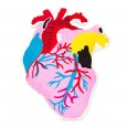 Heart Embroidered Cushion - Red Candy