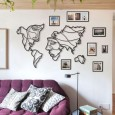 Faces of the World Map Metal Wall Art - Red Candy