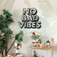 No Bad Vibes Metal Wall Art - Red Candy