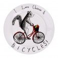 I Love Cheese & Bicycles Side Plate - Red Candy