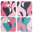 Flamingo Drinks Coasters (Set of 8) - Red Candy