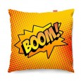 Comic Boom Orange Sofa Cushion - designer orange pop art pillow