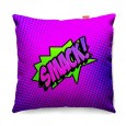 Comic Smack Purple Sofa Cushion - designer purple pop art pillow