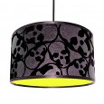 Flocked Skulls Jet Black Lampshade (Neon Yellow) - Red Candy