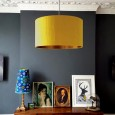 Love Frankie Indian Silk Lampshade (Mustard & Brushed Copper) - Red Candy