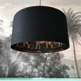 Silhouette Cotton Lampshade - Leopard in Jet Black - animal print lampshade