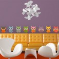 Owl Parade Wall Sticker Set - Red Candy