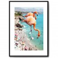 Flamingos On The Beach Framed Print - Red Candy