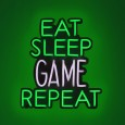 Neon Eat Sleep Game Wall Light Sign - Red Candy