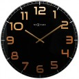 Nextime Classy Wall Clock - Black and Copper - glass wall clock