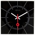 Nextime Stazione Clock - Black - square glass wall clock