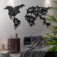 Wild Life World Map Metal Wall Art - Red Candy
