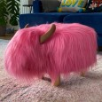 Pink the Pink Highland Cow Footstool - Red Candy