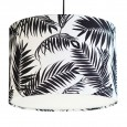 Black and White Tropical Leaf Lampshade (White) - Red Candy