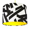 Monochrome Abstract Lampshade (Neon Yellow) - Red Candy