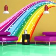Rainbow Bridge Wall Sticker - large colourful wall decor