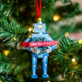 Cheerful Tidings Robot Ornament - Red Candy