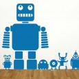 Robots & Aliens Wall Sticker Set - Red Candy